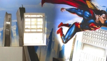 Superman Spiderman Batman Graffiti Street Art Mural
