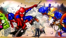 Comic Book Heroes Graffiti Art Mural