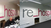 re_hospitality Logo Graffiti Mural