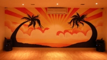 Sunset Living Room Graffiti Art Mural