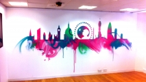London Skyline Graffiti Art Mural