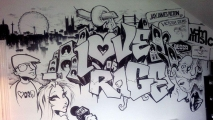 Love or Rage Graffiti Art Mural