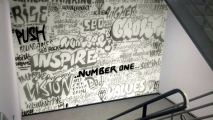 Wall of Words Stairway Graffiti Art Mural