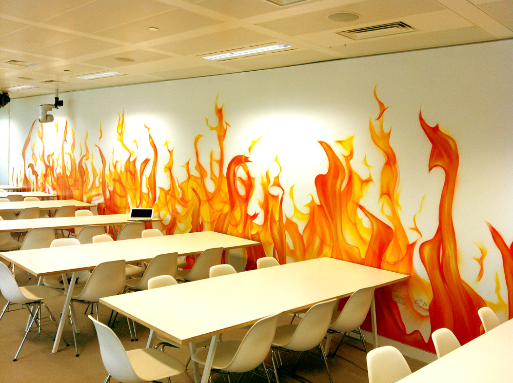 We painted this HOT looking wall for Google in their London canteen