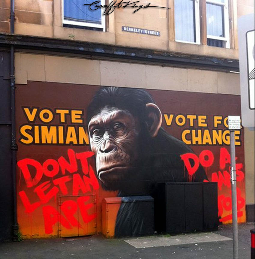 Rise Of The Planet Of The Apes Graffiti Mural