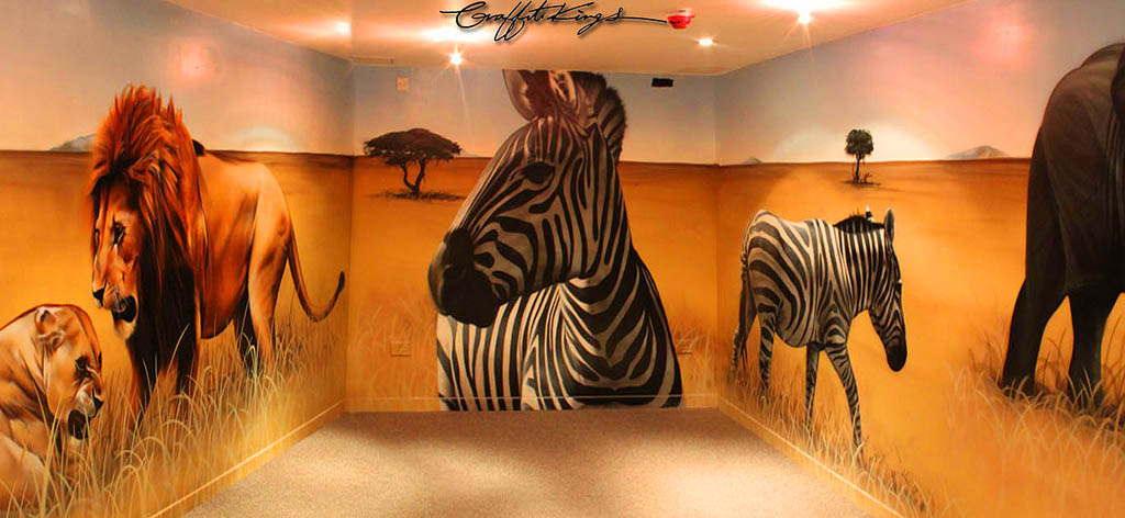 African Animals Graffiti Mural