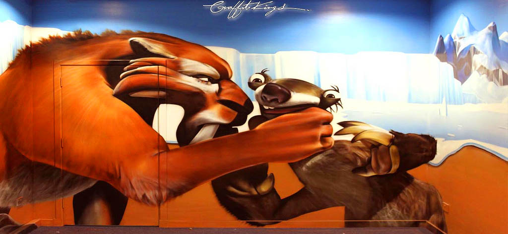 Disney Pixar Ice Age Graffiti Mural