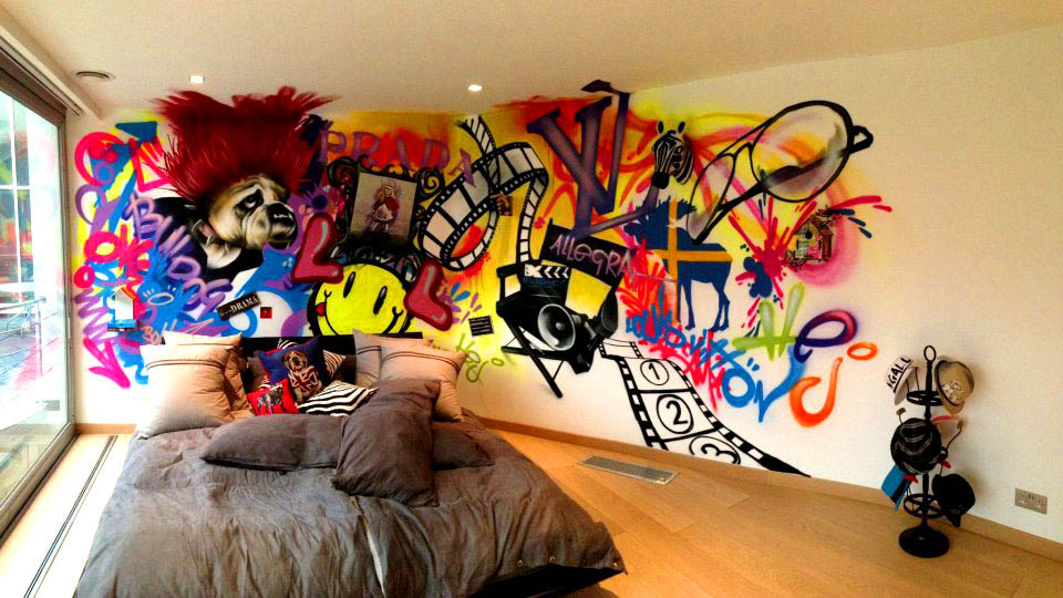 Girls Bedroom Graffiti Mural