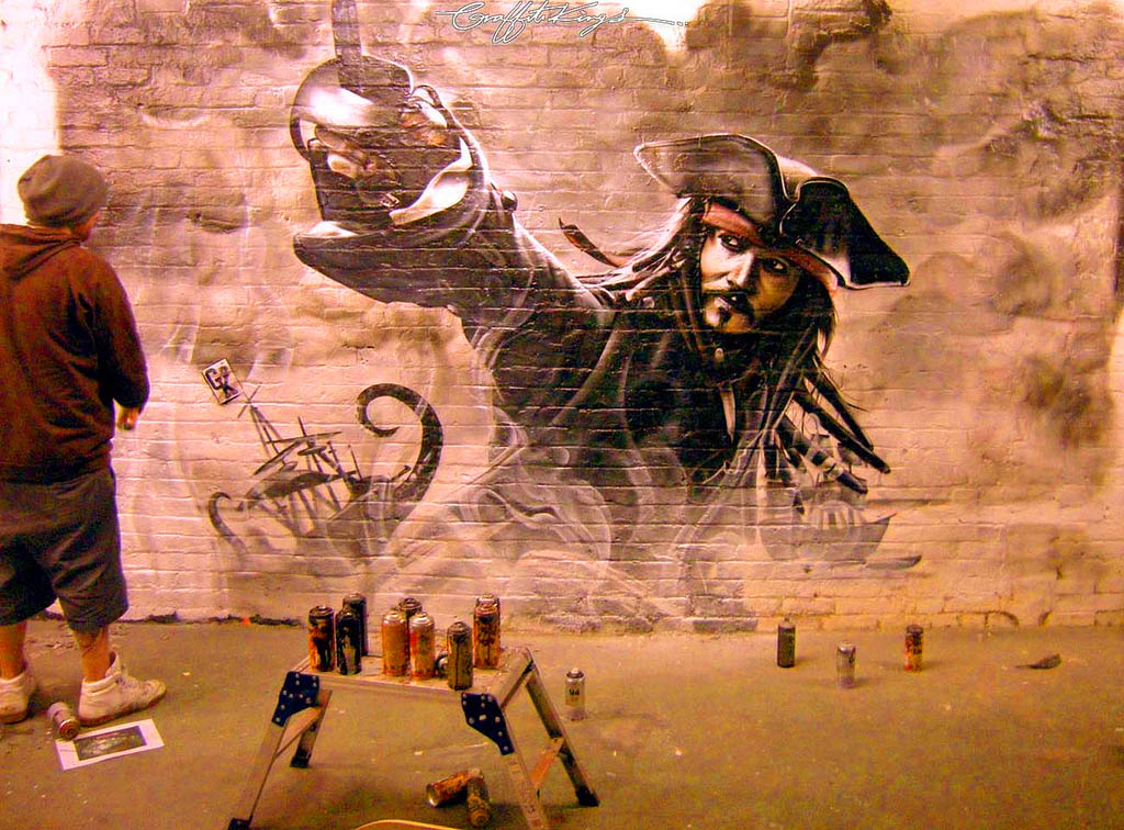 Pirates Of The Caribbean Jack Sparrow Graffiti Mural