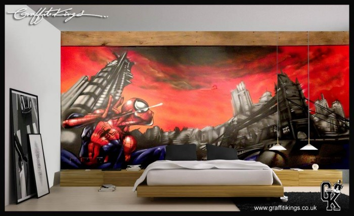 Spiderman Bedroom Graffiti mural