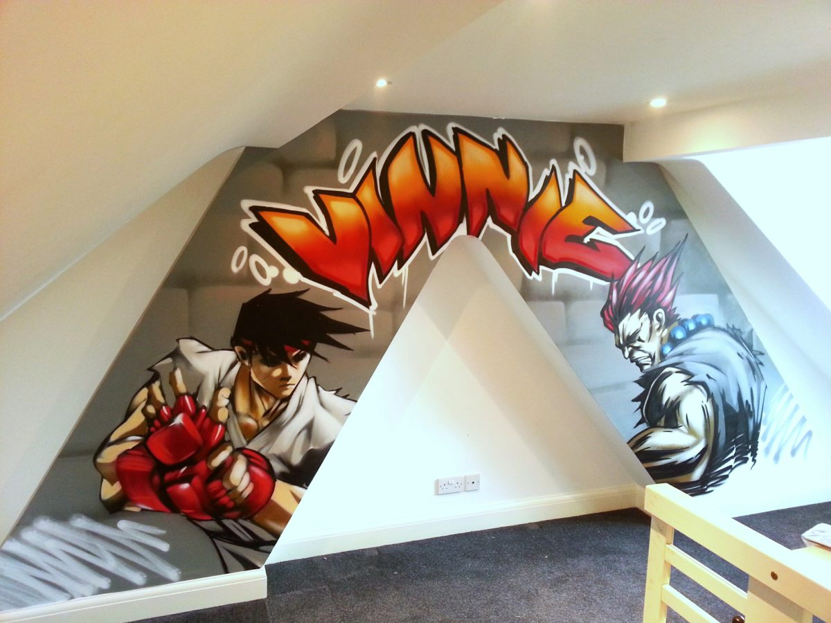 Graffiti wall art bedroom - Streetfighter Bedroom Graffiti Mural