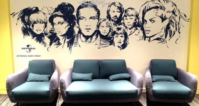 Music Icons Office Graffiti Mural Artwork