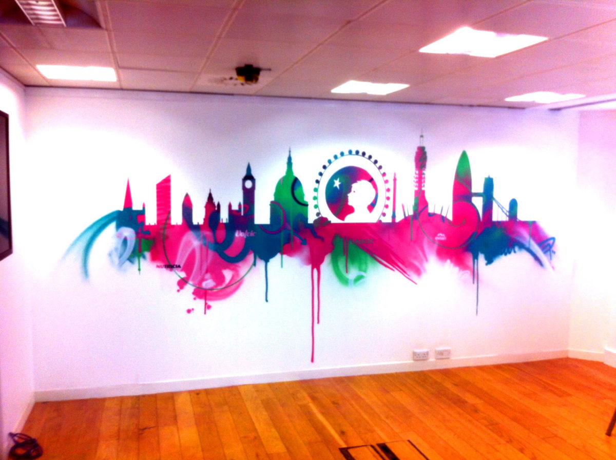 Cityscape Office Graffiti Mural Artwork