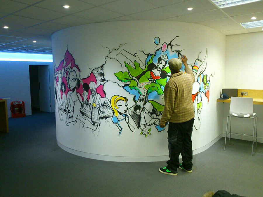 Risual office gets a graffiti kings makeover with graffiti for Graffiti mural
