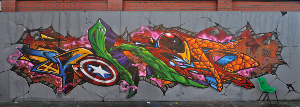 Superhero Graffiti Street Art Bristol