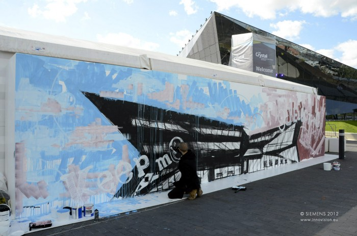 siemens crystal launch graffiti art