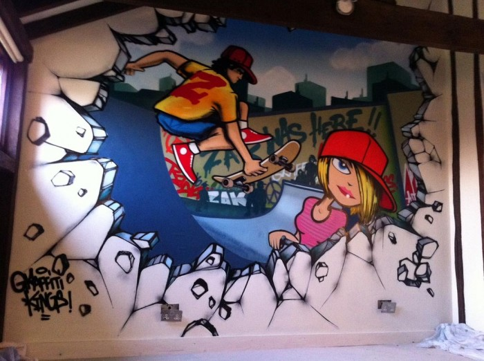 Skater Bedroom Graffiti mural